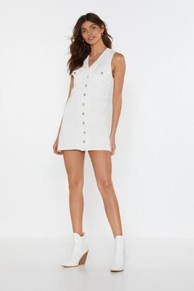 Nasty Gal Womens Come On Button-Down Denim Dress - White - 6, White