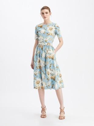 Oscar de la Renta Iris and Daisy Midi Day Dress