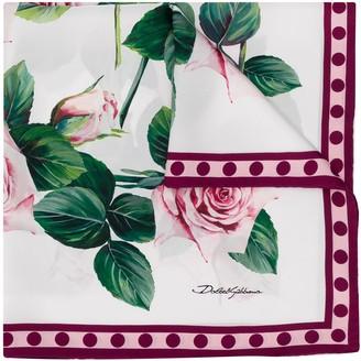 Dolce & Gabbana Rose-Print Square Scarf