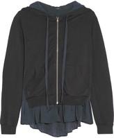Clu Washed Silk-paneled Slub Jersey Hooded Sweatshirt - Charcoal
