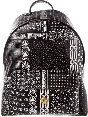Versace Bandana Print Saffiano Leather Backpack