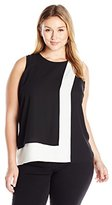 Vince Camuto Women's Plus Size Sleeveless Colorblocked Layered Blouse