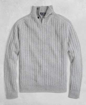 Brooks Brothers Golden Fleece 3-D Knit Saxxon Reserve Button Mockneck Sweater