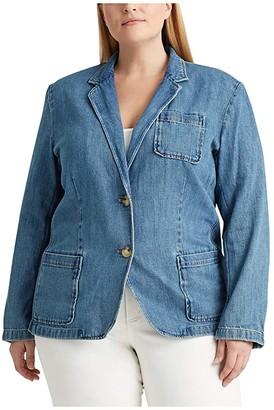 Lauren Ralph Lauren Plus Size Cotton Denim Blazer (Light Authentic Wash) Women's Clothing