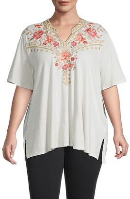 Johnny Was Plus Rianne Floral-Embroidered Tunic