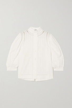 Loewe Embroidered Striped Cotton-voile Blouse - White