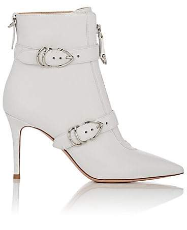 Gianvito Rossi Women's Leather Buckle Ankle Boots - White