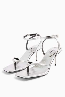 Topshop Womens Radiant Silver Mid Metal Heels - Silver