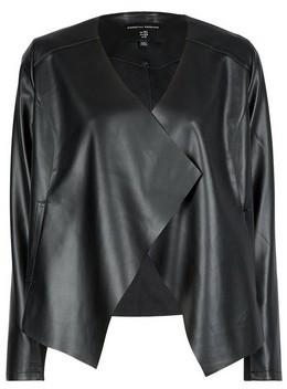 Dorothy Perkins Womens Black Pu Waterfall Jacket, Black
