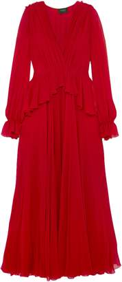 Giambattista Valli Wrap-effect Gathered Silk-chiffon Peplum Gown