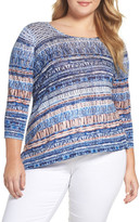Nic+Zoe Oceanside Print Linen Blend Sweater (Plus Size)