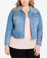 Jessica Simpson Plus Size Pixie Embroidered Denim Jacket