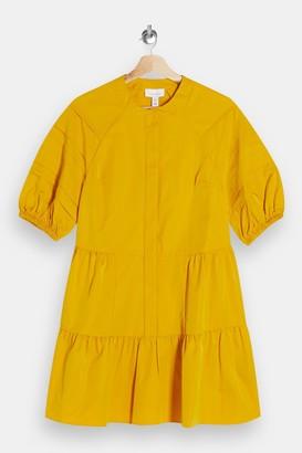 Topshop Mustard Taffeta Mini Dress