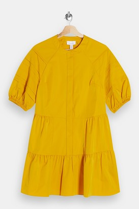 Topshop Womens Mustard Taffeta Mini Dress - Mustard