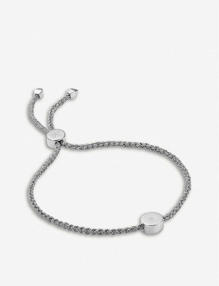 Monica Vinader Linear Solo sterling silver and diamond friendship bracelet
