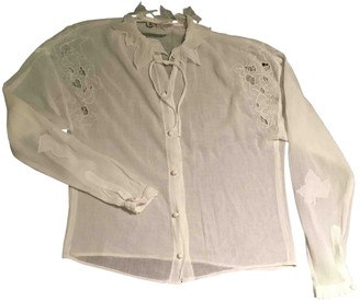 Emmanuelle Khanh White Cotton Top for Women Vintage