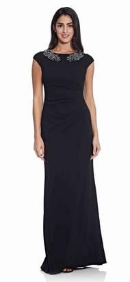 Adrianna Papell Womens Crepe Bead Dress - Black