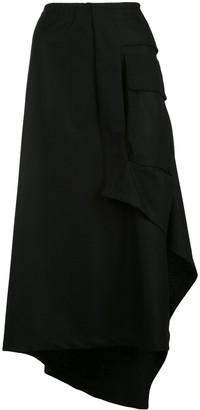Yohji Yamamoto Asymmetric Draped Midi Skirt