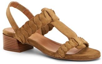 Aquatalia Haiden Suede T-Strap Woven Slingback Block Heel Sandal