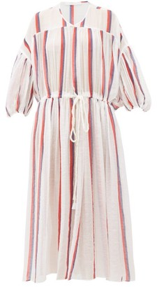 Binetti Love Monaco Striped Cotton-voile Dress - Womens - White Stripe