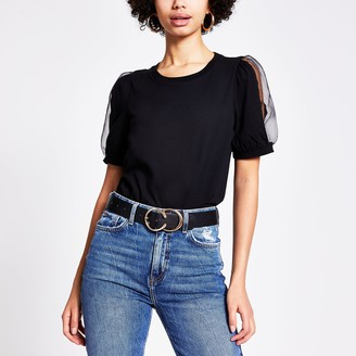 River Island Womens Black organza puff sleeve T-shirt