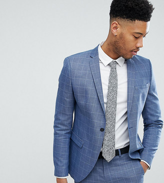 Selected Skinny Fit Suit Jacket In Navy Grid Check