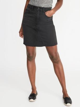 Old Navy High-Waisted Frayed-Hem Black Jean Skirt for Women