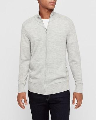 Express Merino Wool Blend Thermal-Regulating Full Zip Mock Neck Sweater