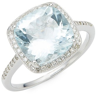 Saks Fifth Avenue 14K White Gold Aquamarine Diamond Cushion-Cut Ring