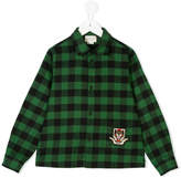 Gucci Kids Angry Cat patch checked shirt