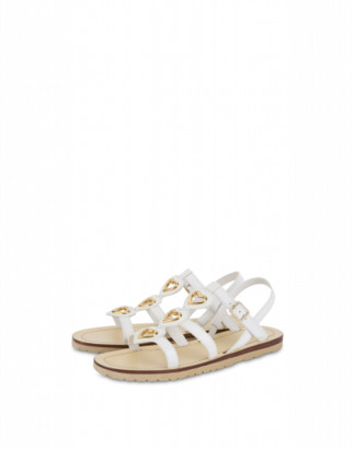 Love Moschino Flat Sandals Metal Heart Woman White Size 36 It - (6 Us)
