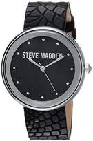 Steve Madden Women's Quartz Silver-Tone Casual Watch, Color:Black (Model: SMW044BK)