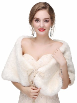 Aukmla Women's Wedding Fur Wraps and Shawls Bridal Fur Stole and Scarves with Ribbon for Bridesmaid
