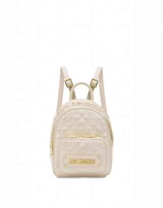 Love Moschino Small Quilted Backpack With Logo Woman White Size U It - (one Size Us)