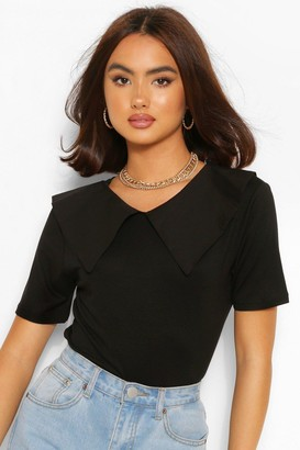 boohoo Cotton Poplin Collar T-Shirt