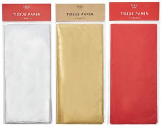 Marks and Spencer Red, Silver & Gold Christmas Tissue Paper Pack - 9 Sheets