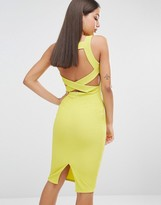 Missguided Ribbed Bodycon Back Detail Midi Dress