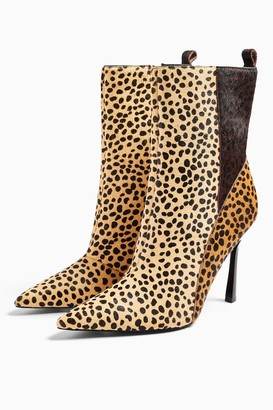 Topshop HOLLY Leather Leopard Point Boots