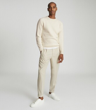 Reiss Ripper - Cable Knit Crew Neck in Ecru