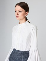 Oscar de la Renta Bell-Sleeve Stretch-Cotton Poplin Blouse