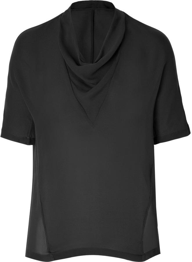 Theory Silk Mandoa Top in Black
