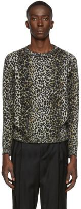 Saint Laurent Beige and Black Jacquard Leopard Sweater