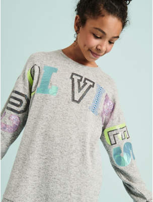 George Grey Cool Vibes Slogan Jumper and Leggings Outfit