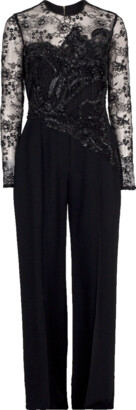 Elie Saab Illusion Lace Top Jumpsuit