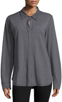 Allen Allen Mock-Button Long-Sleeve Shirt