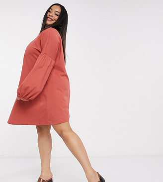 ASOS DESIGN Curve swing mini dress with drop shoulder balloon sleeve in tabasco