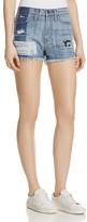 Flying Monkey Distressed Denim Shorts in Medium Wash