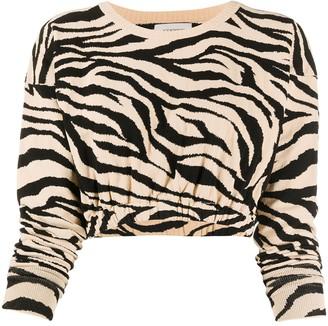 Laneus Zebra Pattern Cropped Top