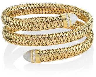 Roberto Coin Primavera 18K Yellow Gold, Mother-Of-Pearl & Diamond Coiled Cuff Bracelet