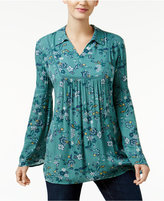 Style&Co. Style & Co. Floral-Print Bell-Sleeve Top, Only at Macy's